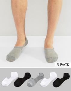 5 пар невидимых носков ASOS - Мульти