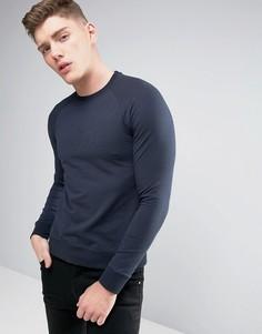 Темно-синий легкий свитшот с круглым вырезом и тисненым логотипом Armani Jeans - Синий