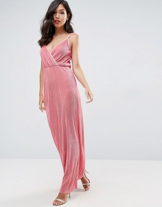 Плиссированное платье макси с запахом ASOS - Розовый