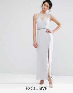 Платье макси с кружевом и отделкой на талии Elise Ryan - Серый