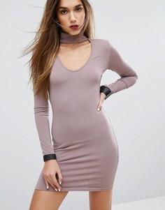 Облегающее платье с горловиной-чокер Motel - Фиолетовый