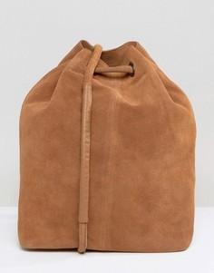 Замшевая сумка-мешок Selected - Коричневый
