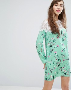 Свободное платье с кружевной вставкой и цветочным принтом E.F.L.A - Мульти