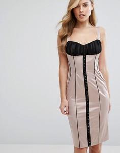 Атласное платье-футляр с корсетной отделкой и крючками Elise Ryan - Мульти
