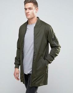 Удлиненная куртка с присборенными рукавами Brave Soul - Зеленый