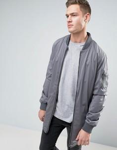 Удлиненная куртка с присборенными рукавами Brave Soul - Серый