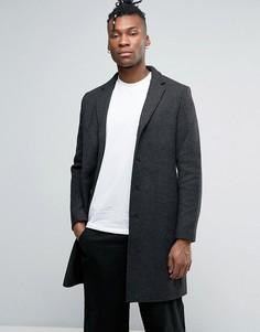 Пальто из смешанной шерсти с шевронным узором Selected - Серый