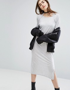 Длинное трикотажное платье с овальным вырезом сзади Cheap Monday - Серый