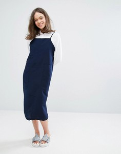 Платье-майка миди с карманом Monki - Синий