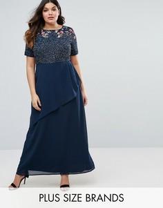 9ee667c6a43 Декорированное платье макси с запахом на юбке Lovedrobe Luxe Rose -  Темно-синий