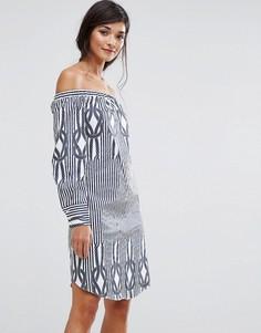Полосатое платье мини с открытыми плечами Closet London - Мульти