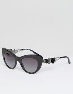 Солнцезащитные очки кошачий глаз с 3D цветочной отделкой Dolce & Gabbana - Черный