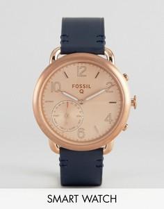 Смарт-часы с темно-синим кожаным ремешком Fossil Q FTW1128 Tailor - Синий