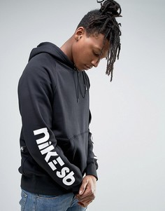 Худи черного цвета без застежки с принтом на рукавах Nike SB 837934-010 - Черный
