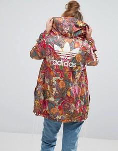 Фестивальная ветровка с ярким цветочным принтом adidas Originals - Мульти