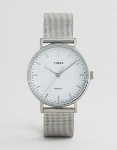 Серебристые часы с сетчатым ремешком Timex Fairfield 37 мм - Серебряный