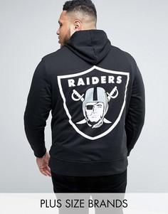 Худи с принтом на спине Majestic PLUS Raiders - Черный