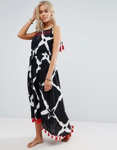 Пляжное платье миди с отделкой на плечах и принтом Anmol - Черный