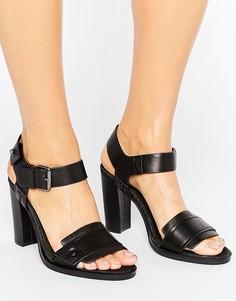 Черные кожаные босоножки на каблуке G-Star Claro - Черный