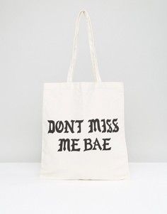 Холщовая сумка с принтом Dont Miss Me Bae Monki - Мульти