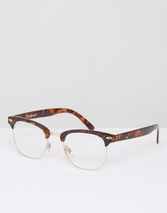 Очки с прозрачными стеклами в черепаховой полуоправе AJ Morgan - Коричневый