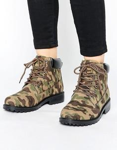 Ботинки с камуфляжным принтом на массивной подошве Park Lane - Зеленый
