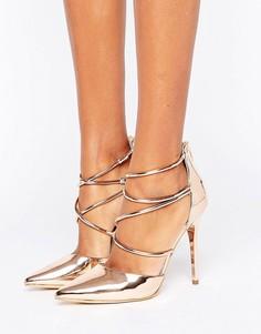 Золотисто-розовые туфли на высоком каблуке с перекрестными ремешками Office Spears - Золотой