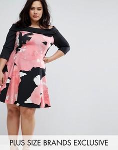 Платье с вырезом лодочкой и цветочным принтом Coast Plus Monroe Lou - Мульти