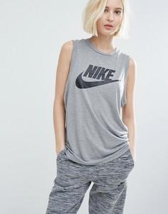 Серая обтягивающая майка Nike - Серый