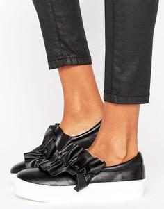 Кроссовки-слипоны с отделкой Missguided - Черный