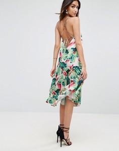 Платье миди с тропическим принтом ASOS - Мульти