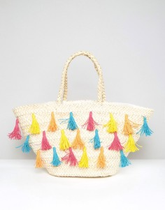 Соломенная пляжная сумка с разноцветными кисточками South Beach - Мульти