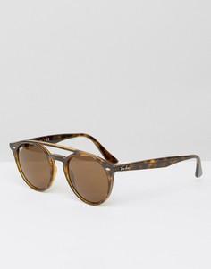 Круглые солнцезащитные очки с черепаховой отделкой и двойной планкой сверху Ray-Ban 0RB4279 - Коричневый