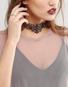 Ожерелье-чокер с черными кристаллами Regal Rose - Черный