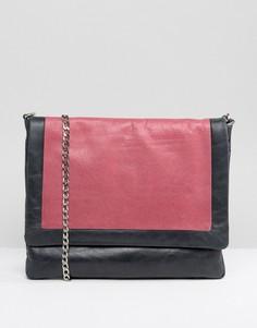 Серая кожаная сумка колор блок Urbancode - Темно-синий