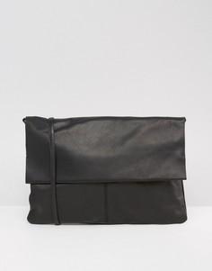Кожаная сумка без подкладки со съемным ремешком через плечо ASOS - Черный