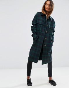 Клетчатое пальто в стиле милитари ASOS - Мульти