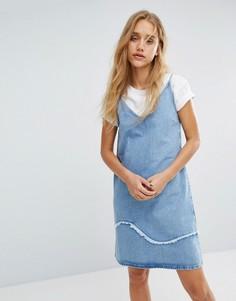 Джинсовое платье с бретелями с необработанной отделкой M.i.h Jeans - Синий