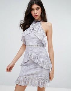 Кружевное платье мини без рукавов с рюшами True Decadence - Серый