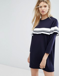 Платье с рюшами в полоску Outstanding Ordinary - Синий