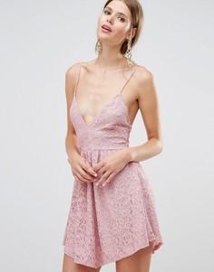 Кружевное платье мини Oh My Love - Фиолетовый