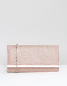 Бледно-розовый прямоугольный клатч-конверт с металлической вставкой Carvela Dylan - Розовый