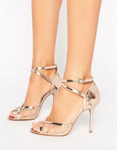 Босоножки на каблуке цвета розового золота Head Over Heels By Dune Meryl - Золотой