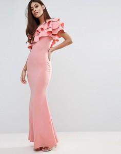 Платье макси на одно плечо с оборкой Club L Bridesmaid - Розовый