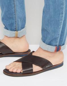 Кожаные сандалии с перекрестными ремешками Ted Baker Punxel - Коричневый