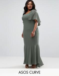 Платье макси в стиле 30-х с юбкой годе и накидкой ASOS CURVE - Зеленый