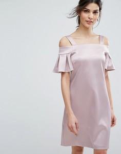 Платье мини с открытыми плечами Closet London - Розовый
