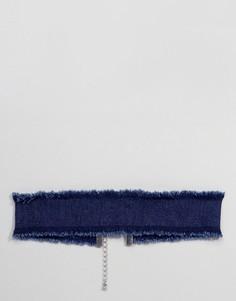 Джинсовый чокер цвета индиго ASOS - Синий