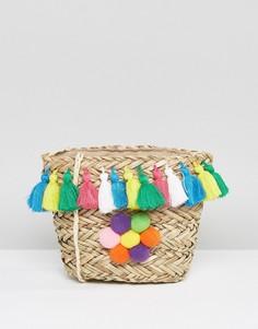 Соломенная сумка через плечо с разноцветными помпонами Glamorous - Мульти