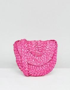Розовая сумка из бумажной соломки с ремешком через плечо Glamorous - Розовый